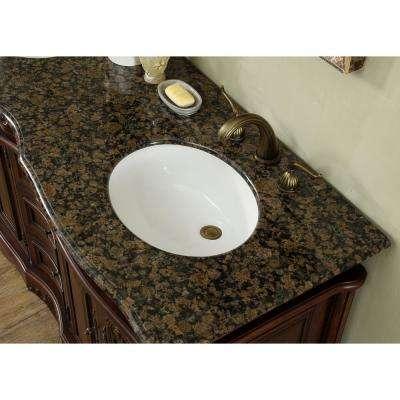 60 in. Saturn Double Sink Vanity in Dark Cherry with Granite Vanity Top in Baltic Brown with White Basin