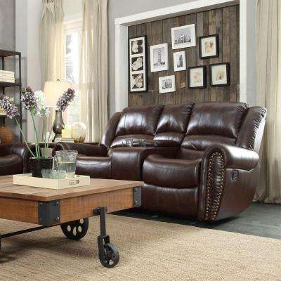 Merida Chocolate Bonded Leather Loveseat