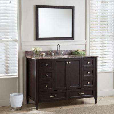 Claxby 49 in. W x 22 in. D Bathroom Vanity in Chocolate with Stone Effects Vanity Top in Avalon