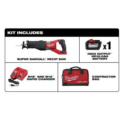 M18 FUEL 18-Volt Lithium-Ion Brushless Cordless SUPER SAWZALL Orbital Reciprocating Saw Kit w/(1) 12.0 Ah Battery