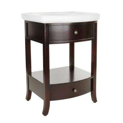 Parisian 24-1/2 in. Birch Vanity in Espresso with Vitreous China Vanity Top in White with White Basin