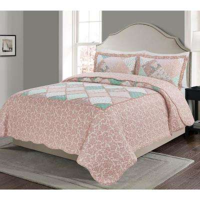 Morgan Home Mhf Home 2 Piece Dharma Floral And Plaid Patchwork Twin Quilt Set M594076 The Home Depot