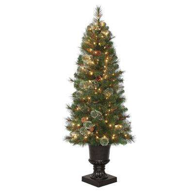 4.5 ft. Pre-Lit LED Alexander Fir Artificial Christmas Potted Tree x 263 Tips, 150 UL Indoor/Outdoor Warm White Lights