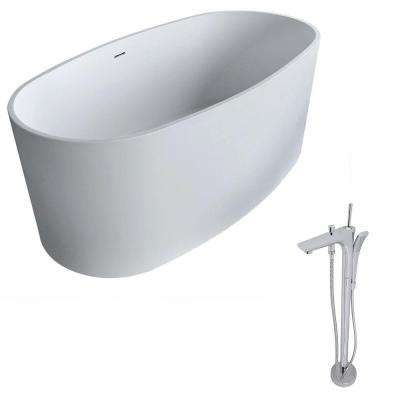 Roccia 5.1 ft. Man-Made Stone Classic Flatbottom Non-Whirlpool Bathtub in Matte White and Kase Faucet in Chrome