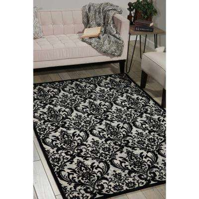 Damask Black/White 5 ft. x 7 ft. Area Rug