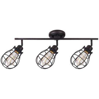 Lancy 3-Lights Matte Black Track Light with Cage Shade
