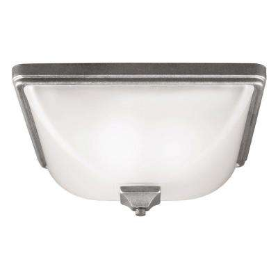 Irving Park 3-Light Outdoor Weathered Pewter Ceiling Flushmount with Satin Etched Glass
