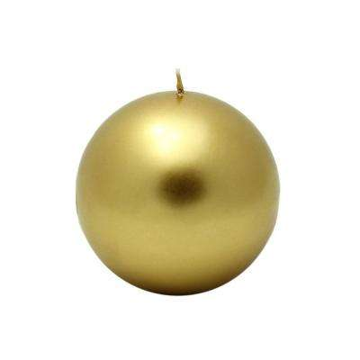 4 in. Metallic Gold Ball Candles (2-Box)
