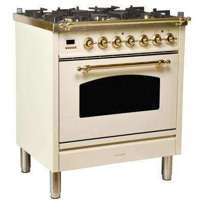 30 in. 3.0 cu. ft. Single Oven Dual Fuel Range with True Convection, 5 Burners in Antique White