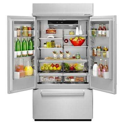 42 in. W 24.2 cu. ft. Built-In French Door Refrigerator in Stainless Steel, Platinum Interior