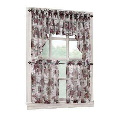 Merlot Wine Country Printed Textured Sheer Curtain Tiers, 54 in. W x 36 in. L (Price Varies by Size)