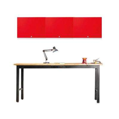 Performance Series 75 in. H x 72 in. W x 18 in. D Work Station in Red with Bamboo (4-Piece)