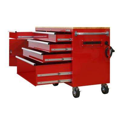 62 in. 5-Drawer 1-Door Mobile Workbench in Red