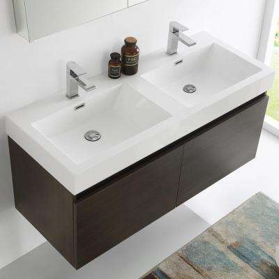 Mezzo 48 in. Vanity in Gray Oak with Acrylic Vanity Top in White with White Basins and Mirrored Medicine Cabinet