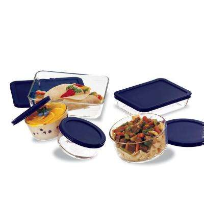10-Piece Glass Mixing Bowl and Bakeware Set with Lids in Blue
