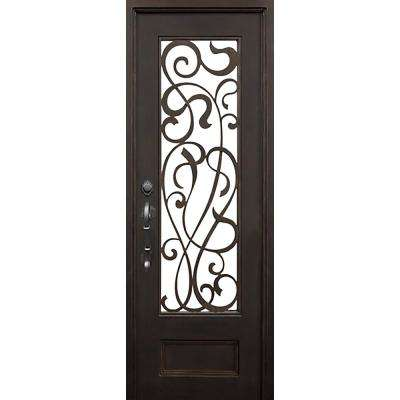 40 in. x 96 in. St Lucie Dark Bronze Modern 3/4 Lite Painted Wrought Iron Prehung Front Door (Hardware Included)