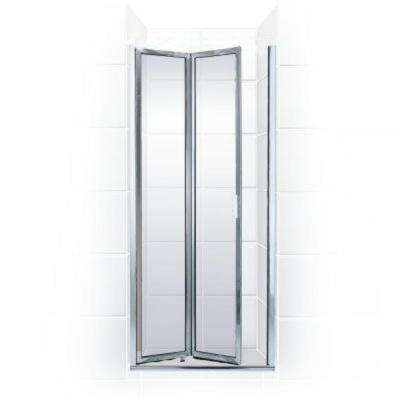 Paragon Series 29 in. x 67 in. Framed Bi-Fold Double Hinged Shower Door in Chrome and Clear Glass