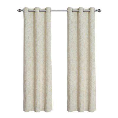Elinor Linen Blend Jacquard Grommet Curtain Panel, 38 in. W (1 Pair)