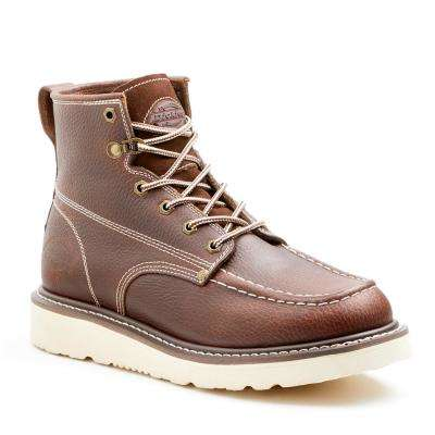 Trader Men Burgundy Soft Toe Leather Work Boot
