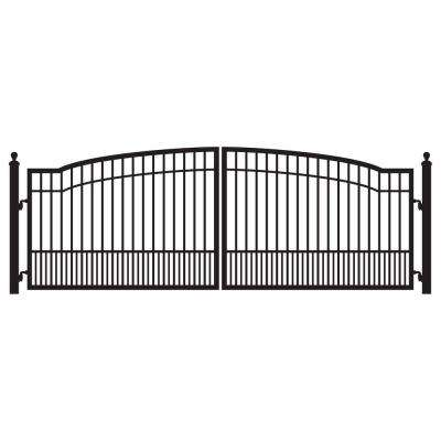 Biscayne 14 ft. W x 5 ft. H 6 in. Powder Coated Steel Dual Driveway Fence Gate
