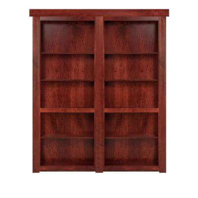 72 in. x 80 in. Flush Mount Assembled Cherry Stained Universal Solid Core Interior French Bookcase Door