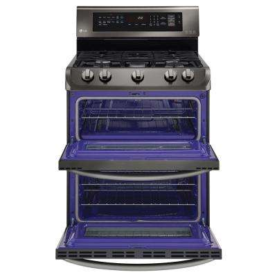 6.9 cu. ft. Double Oven Gas Range with ProBake Convection Oven, Self Clean and EasyClean in Black Stainless Steel