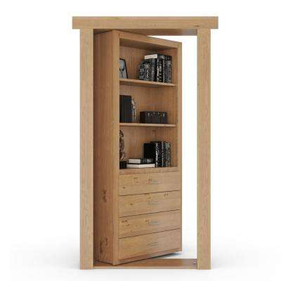30 in. x 80 in. Flush Mount Assembled Dresser Door Alder Natural Stained Left-Hand Outswing