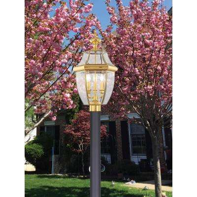 3-Light Outdoor Bright Brass Post Head with Clear Beveled Glass