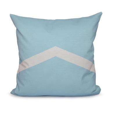 16 in. x 16 in. Colorful Stripe Geometric Pillow in Blue