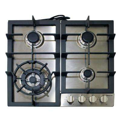 24 Gas Cooktop in Stainless Steel with 4 Burners