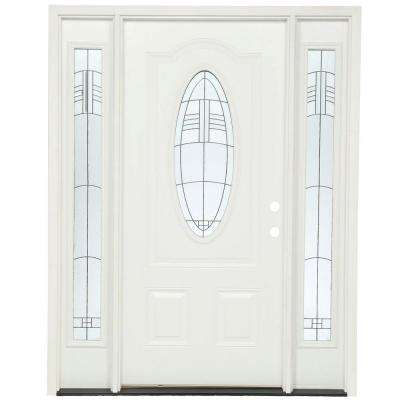 63.5 in.x81.625 in. Rochester Patina 3/4 Oval Lt Unfinished Smooth Right-Hand Fiberglass Prehung Front Door w/ Sidelites