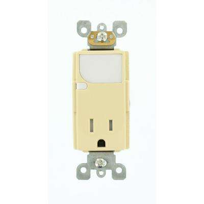 15 Amp 125-Volt Decora Combination Receptacle with LED Sensor Guide Light, Ivory