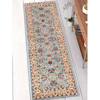 Barclay Sarouk Light Blue 2 ft. x 7 ft. Traditional Oriental Runner Rug