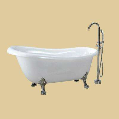 Dreamwerks 5.5 ft. Acrylic Clawfoot Non-Whirlpool Bathtub in White