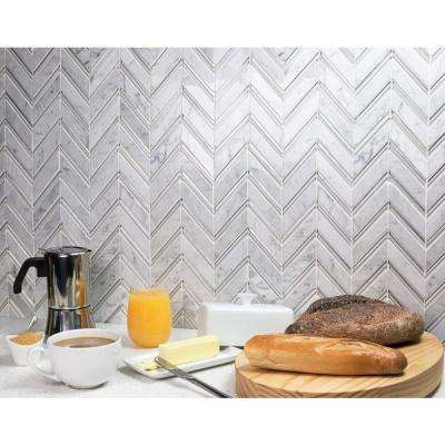 Royal Herringbone Winter 10-1/2 in. x 12 in. x 10 mm Polished Marble Mosaic Tile