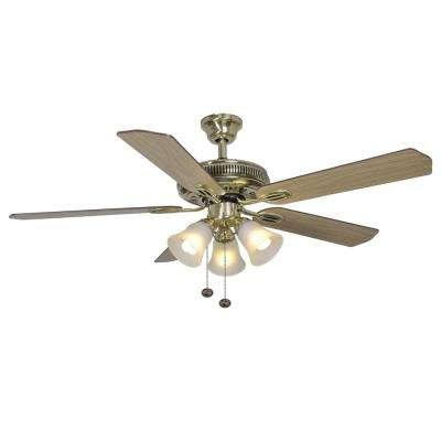 Glendale II 52 in. Indoor Flemish Brass Ceiling Fan with Light Kit