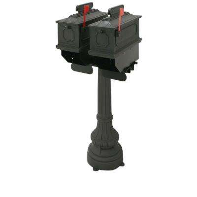 1812 Buckhorn 2-Compartment Plastic Black Mailbox with Post