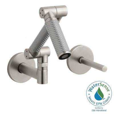 Karbon Single-Handle Wall Mount Bathroom Faucet with Mid-Arc and Silver Tube in Vibrant Brushed Nickel