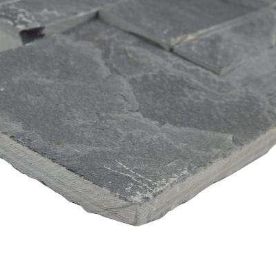 Ledger Panel Black Slate Corner 7 in. x 7 in. Natural Stone Wall Tile