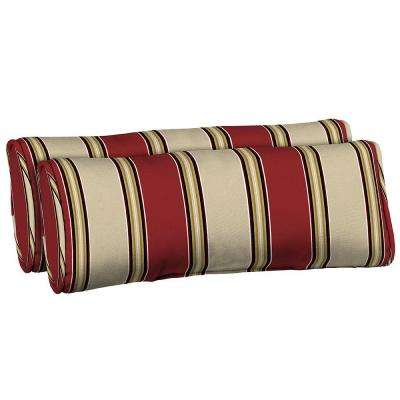 Wide Chili Stripe Side Band Outdoor Lumbar Pillow (2-Pack)