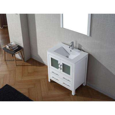 Dior 30 in. W Bath Vanity in White with Ceramic Vanity Top in Slim White Ceramic with Square Basin and Mirror and Faucet