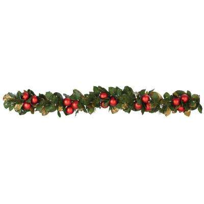 6 ft. Pre-Lit Garland with Magnolias and Ornaments