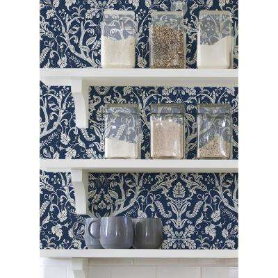 Navy Escape to the Forest Peel and Stick Wallpaper Blue Vinyl Peelable Roll (Covers 30.75 sq. ft.)