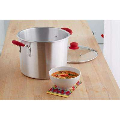 Global Kitchen 12 Qt. Stock Pot with Glass Lid in Stainless Steel