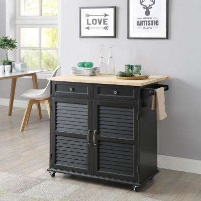 Portland Black Kitchen Cart with Natural Wood Top