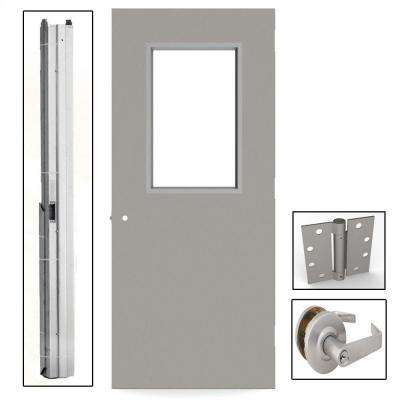 Gray Flush Steel Prehung Commercial Vision Light Unit with Hardware