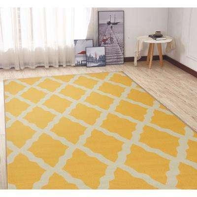 Clifton Collection Moroccan Trellis Design Yellow 5 ft. x 7 ft. Area Rug