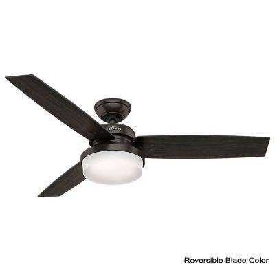 Sentinel 52 in. LED Indoor Premier Bronze Ceiling Fan with Light Kit and Universal Remote