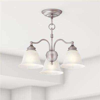 Providence 3-Light Brushed Nickel Incandescent Ceiling Semi Flush Mount/Pendant Convertible