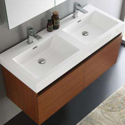 Mezzo 48 in. Vanity in Teak with Acrylic Vanity Top in White with White Basins and Mirrored Medicine Cabinet